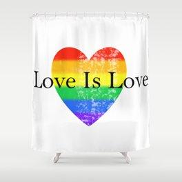 Love Is Love Rainbow Pride Heart 3 Shower Curtain