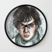 sherlock holmes Wall Clocks featuring Sherlock Holmes by ArtEleanor