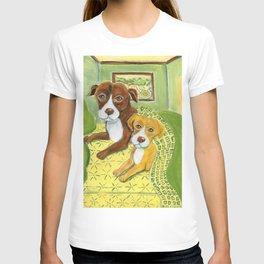 Pitbulls on patterned sheets T-shirt