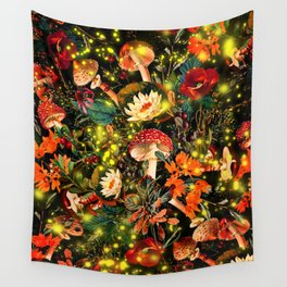 Night Garden and Fireflies Wall Tapestry