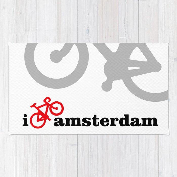 I Love Amsterdam - Red Bike Rug