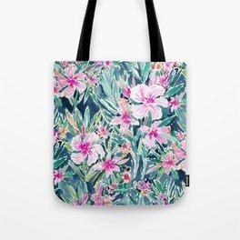 LUSH OLEANDER Tropical Watercolor Floral Tote Bag