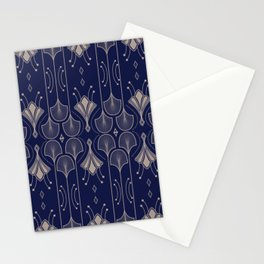 Lily Lake - Retro Floral Pattern Navy Blue Stationery Cards