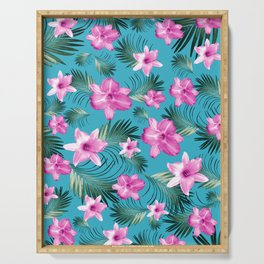 Tropical Flowers Palm Leaves Finesse #3 #tropical #decor #art #society6 Serving Tray