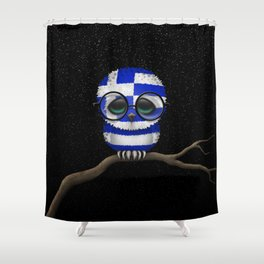 Baby Owl with Glasses and Greek Flag Shower Curtain