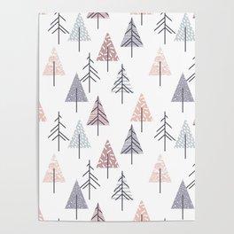 Winter geometrical pink lilac geometric trees Poster