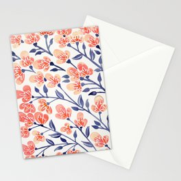 Cherry Blossoms – Peach & Navy Palette Stationery Cards