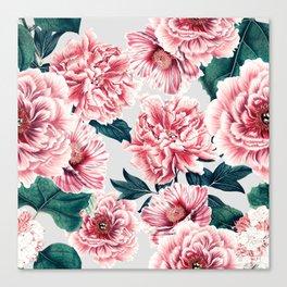 Pattern pink vintage peonies Canvas Print