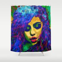 selena Shower Curtains featuring Selena (pop) by    Amy Anderson