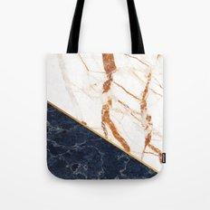 Classy Elegant White Blue Gold Marble Tote Bag