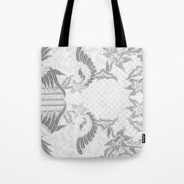 Bali Batik white grey Tote Bag