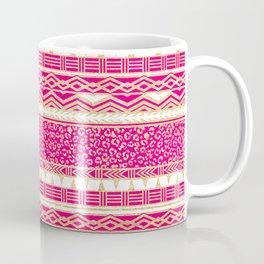 Modern neon pink faux gold glitter aztec leopard Coffee Mug