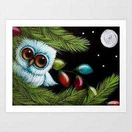 TINY BABY OWL - 1ST CHRISTMAS TREE LIGHTS Art Print