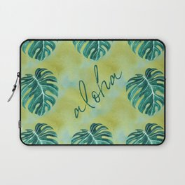 Tropical aloha monstera leaves on yellow green washed watercolor Laptop Sleeve