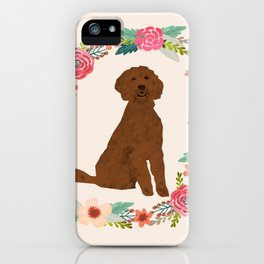 golden doodle dog floral wreath dog gifts pet portraits iPhone Case