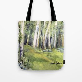 Woodland Landscape Watercolor Vermont Painting Birch Trees Spring Fields Tote Bag