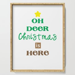 Oh Deer Christmas is Here Christmas Eve Xmas Holiday Celebration Serving Tray