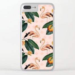 Flamingos & Tangerines Pattern Clear iPhone Case