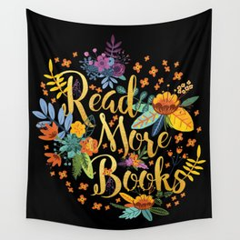 Read More Books - Black Floral Gold Wall Tapestry