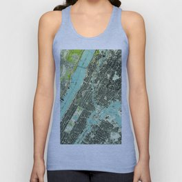 Vintage Central Park & Bronx NY Map (1947) Unisex Tank Top