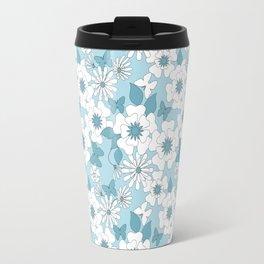 Pale blue floral pattern . Travel Mug