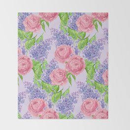Watercolor peonies and lilacs Throw Blanket