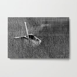Canoe in the Reeds Metal Print