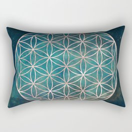 Mandala Flower of Life Rose Gold Space Stars Rectangular Pillow