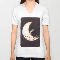 lunar V-neck T-shirts featuring Lunar Child by Annisa Tiara Utami