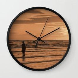 A Gormley Iron man at sunset (Digital Art) Wall Clock