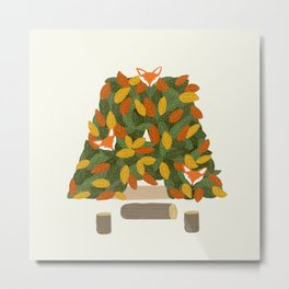 Autumn and Fox Metal Print