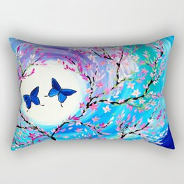 Butterflies with aqua, blue, green and purple Rectangular Pillow