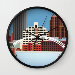 Rochester, New York - Skyline Illustration by Loose Petals Wall Clock
