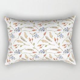 Fall watercolor blue coral orange brown leaves berries Rectangular Pillow
