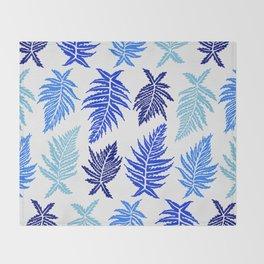 Inked Ferns – Blue Palette Throw Blanket