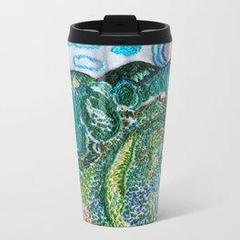 cheerful handmade embroidery in the digital world Metal Travel Mug