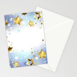 Golden Stars on a Light Background Stationery Cards