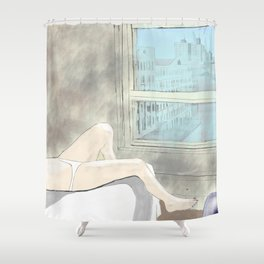 Woman at a New York Evening Siesta Shower Curtain