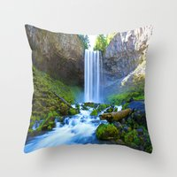 waterfall Throw Pillows featuring Waterfall by 2sweet4words Designs