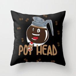 Funny Coffee Bean Pot Head Throw Pillow