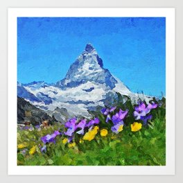 Matterhorn - Acrylic & Palette Knife Paint on Canvas Art Print