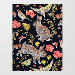 Bunny Meadow Pattern - Dark Poster