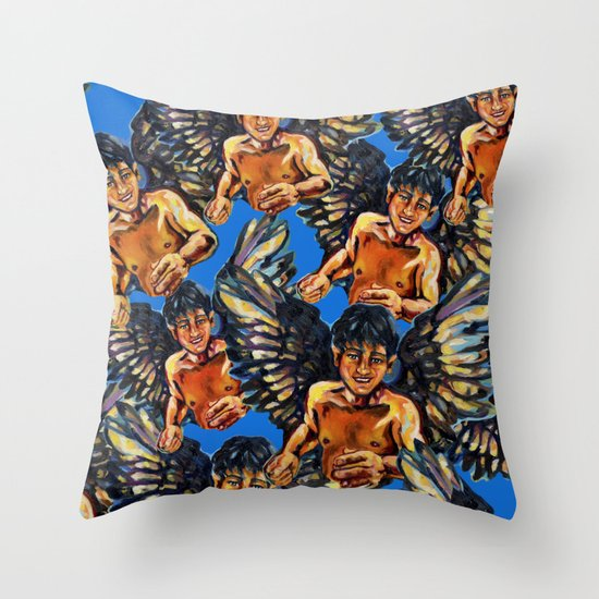 Angels meeting Throw Pillow
