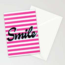 Smile, pink stripes, motivational poster, typography t shirt Stationery Cards