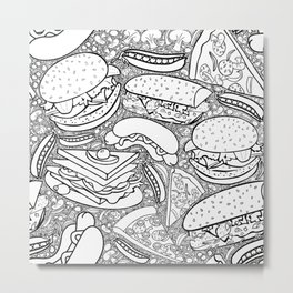 Junk and Health Food Frenzy Metal Print