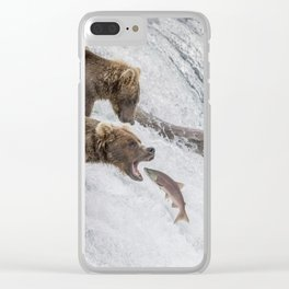 The Catch - Brown Bear vs. Salmon Clear iPhone Case
