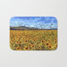 Vincent Van Gogh Sunflowers Bath Mat