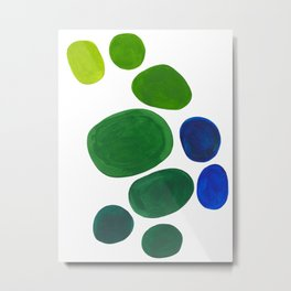 Mid Century Kusama Abstract Minimalist Colorful Pop Art Lime Green Blue Rainbow Ombre Gradient Metal Print