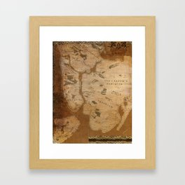 Fantasy Map of New York: Gritty Parchment Framed Art Print