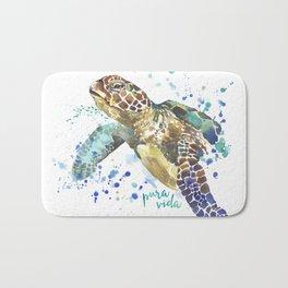 Sea Turtle Pura Vida Watercolor Bath Mat